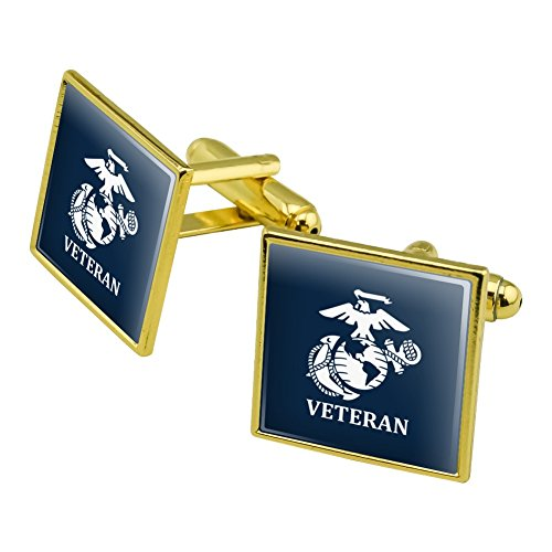 Veteran USMC Marine Corps White on Blue Officially Licensed Square Cufflink Set Gold Color