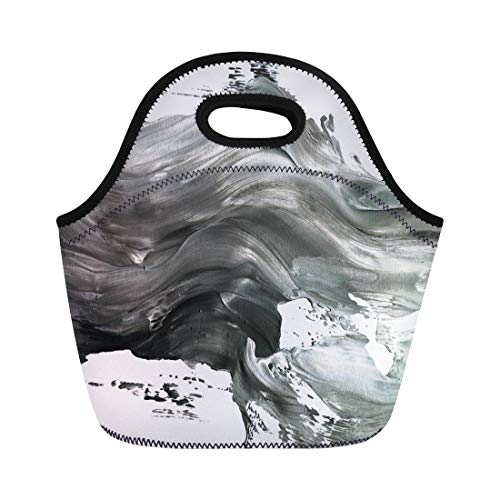 Semtomn Lunch Tote Bag Abstract Ink Marble Black and White Paint Stroke Macro Reusable Neoprene Insulated Thermal Outdoor Picnic Lunchbox for Men Women