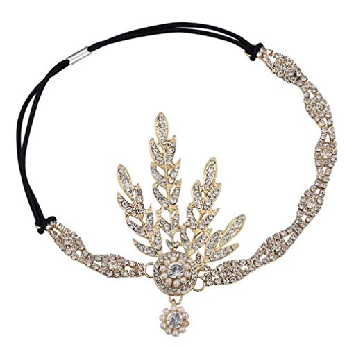 Art Women 1920S Vintage Bridal Headpiece Costume Hair Accessories Flapper Great Gatsby Leaf Medallion Pearl Headband gold ()