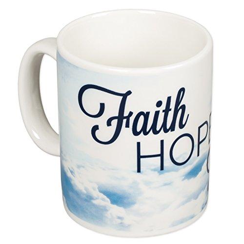 Faith Hope Love 1 Corinthians 13:13 Blue Christian 16 oz. Porcelain Stoneware Coffee Mug