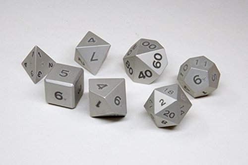 Gravity Dice 7 Metal Polyhedral Dice Set - Anodized Aluminum - World's Most Precise Gaming Dice (Silver) by Gravity Dice