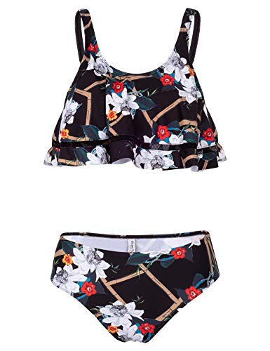 (Verano Playa Women Swimsuits Two Piece Ruffle Tiered Swim Top High Waisted Cute Falbala Bathing Suits Swimwear)