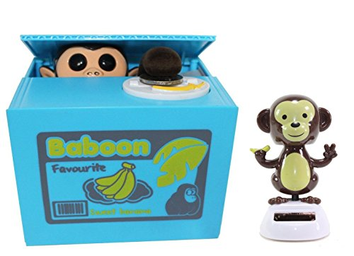 Funny Monkey Stealing Coin to Money Banana Box Bank + Solar Standing Monkey Home Decor Gift (Talking Bank)