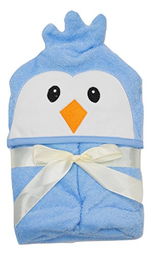 Hooded Bath Towel for Baby and Toddler Girls and Boys (Blue Penguin) (Boy Penguin New Baby)