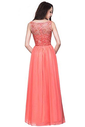 Spitzenkleid Misshow Abschlussballkleid Elegant Damen Lang Koralle Ball Abendkleid Chiffon pxvOqvA