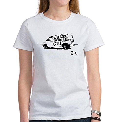 CafePress 24 CTU Van Womens Cotton T-Shirt, Crew Neck, Comfortable & Soft Classic Tee White ()