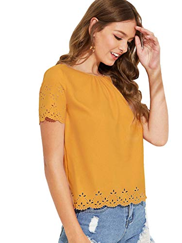 MAKEMECHIC Women's Cut Out Pleated Front Gathered Neck Scallop Laser Cut Blouse Ginger M ()