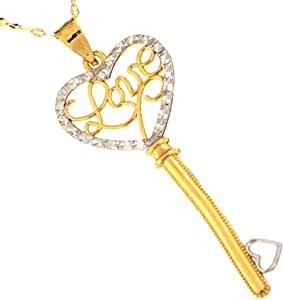 18KT Gold, Yellow & White Key with heart & Love Pendant with Chain