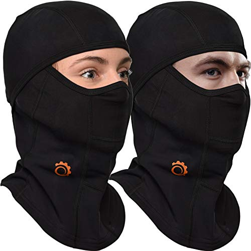 Balaclava by GearTOP, Best Full Face Mask, Premium Ski Mask and Neck Warmer for Motorcycle and Cycling (BLACK-2 Pack) ()
