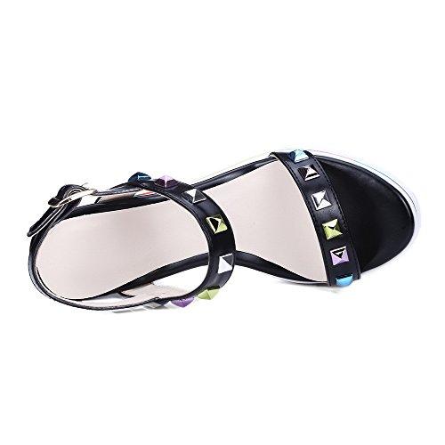 Amoonyfashion Mujeres Microfiber Assorted Color Hebilla Open-toe High Heels Sandalias Negro