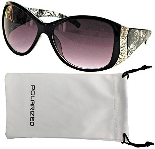 Vox Womens Polarized Sunglasses Designer Rhinestone Vintage Floral Eyewear