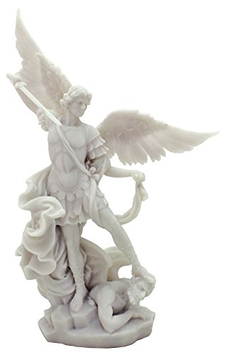 - White Archangel St Michael Statue - H: 10 inch - Archangel of Protection and Justice - Leader of the Seven Archangels