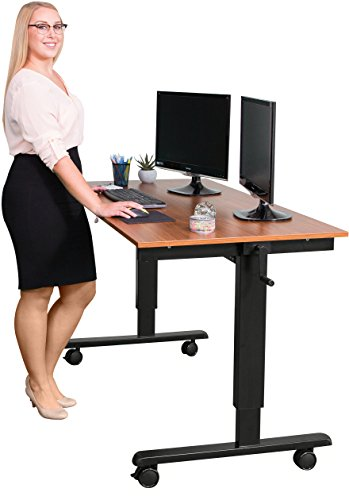 60'' Crank Adjustable Height Standing Desk (Black Frame / Teak Top) by Stand Up Desk Store