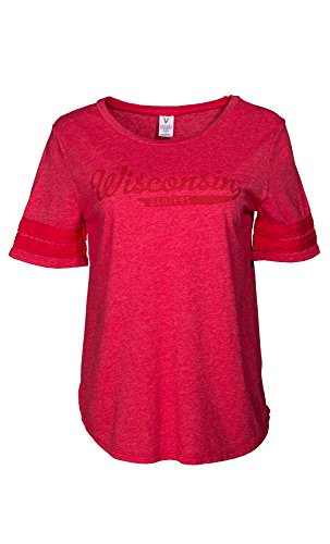 (NCAA Wisconsin Badgers Fay Women's Short Sleeve Tri-Blend Jersey Tee with Striped Sleeves, Small, Red)