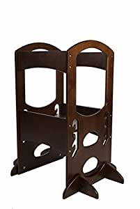 Learning Tower Kids Adjustable Height Kitchen Step Stool with Safety Rail (Dark Cherry) - Wood Construction, Perfect for Toddlers or Any Little Helper - Quality Preschool Learning Furniture from Little Partners