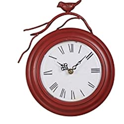 Antiqued Metal Red Bird Wall Clock - 6