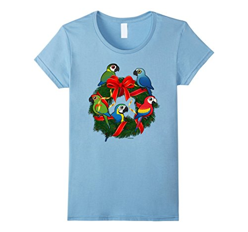 Womens Cute Macaws Holiday Wreath T-Shirt | Christmas Bir...