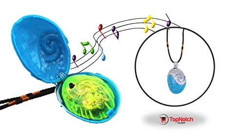 Moana Toys - Heart of TeFiti - Moana Party Supplies - Fun Make-Pretend Polynesian Princess Light-Up Pendant For Any Little Girl - Singing Moana Seashell - Moana Dress Up - Cosplay Moana Costume -