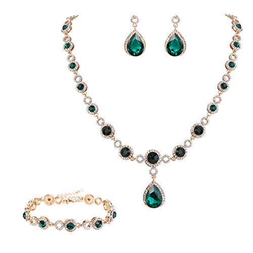 BriLove Wedding Bridal Necklace Bracelet Earrings Jewelry Set for Women Crystal Infinity Figure 8 Teardrop Y-Necklace Dangle Earrings Tennis Bracelet Set Emerald Color Gold-Toned May Birthstone