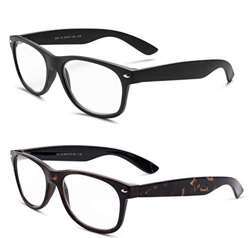 (Specs Retro 80's Vintage Reading Glasses (Matte Black and Shiny Havana) +2.00 2-Pack)