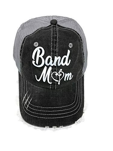 Spirit Caps White Glitter Band Mom Distressed Look Grey Trucker Cap Hat Music