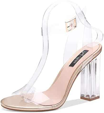 752100146acd Onlymaker Women s Lucite Clear Ankle Strap Adjustable Buckle Block Chunky  Perspex High Heel Transparent Dress Sandals