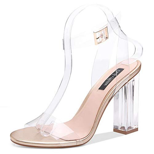 Onlymaker Women's Lucite Clear Ankle Strap Adjustable Buckle Block Chunky Perspex High Heel Transparent Dress Sandals Gold 7 M US ()