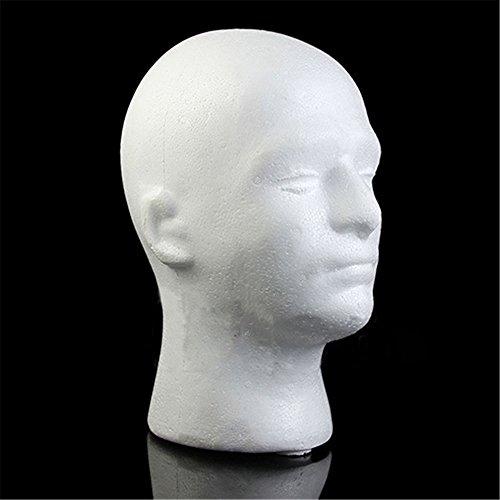 HEART SPEAKER Male Mannequin Styrofoam Foam Manikin Head Model Wig Glasses Hat Display Stand
