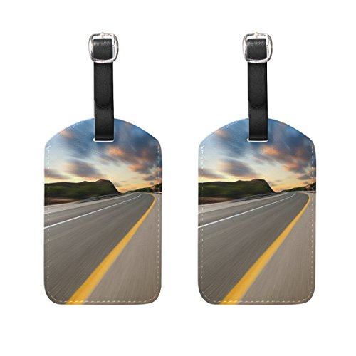 (Luggage Tag for Baggage Suitcase 2 PCS Road Under Sunset Sky Race Leather Travel Bag Address Labels)