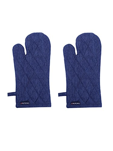 (Set of 2 Oven Mitts, Denim Blue, 100% Cotton, 7 x 13, Heat Resistant, Eco Friendly and Safe Gloves, Mittens Suitable for All Household Ovens)