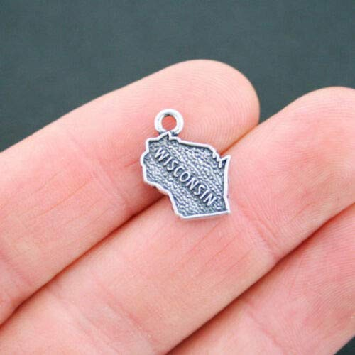 4 Wisconsin State Map Charms Antique Silver Tone 2 Sided - SC5210 DIY Jewelry Making Supply for Charm Pendant Bracelet by Charm Crazy
