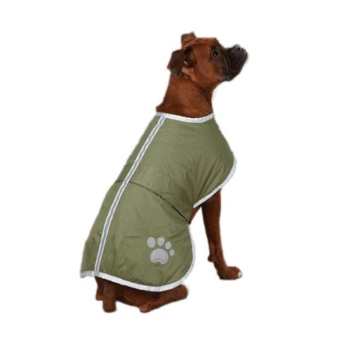 """Reversible Fleece Dog Jacket (Fashion shop Dog Blanket Coat Reversible Winter Jacket with Waterproof Shell,Fleece Lining and Reflective Strip and Paw Print 3 color for Choice. (olive green, XL(Back 24"""")))"""