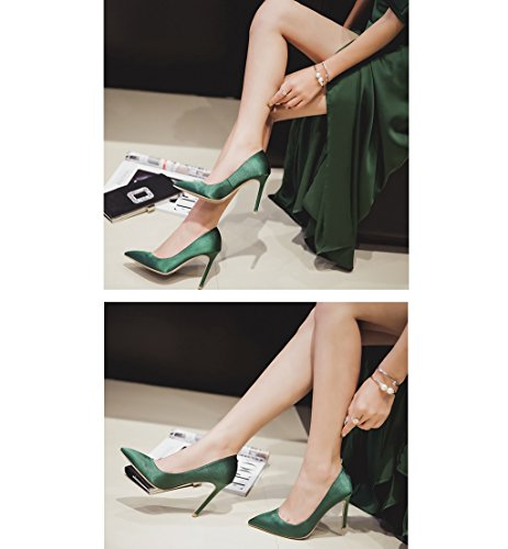 Vintage Green Lady Satin High Heels Shallow Mouth Pointed-Toe Elegant Sandals Sexy Bride Purple Wedding Shoes 8.5/10.5cm (Color : Green 10.5cm, Size : 40)