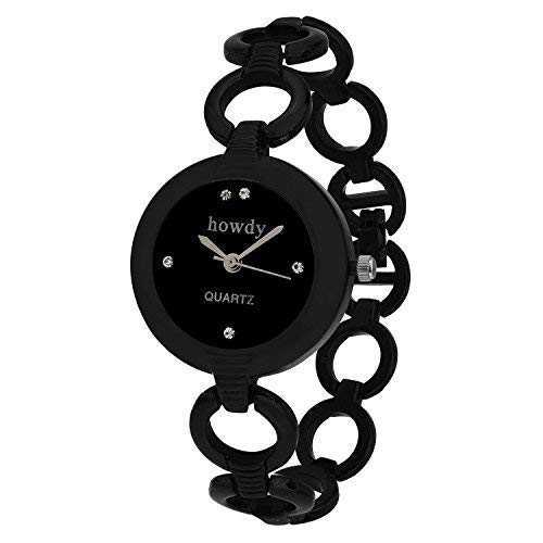 Howdy Analogue Black Dial Womens Watch (Black)