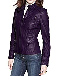 Alishbah Women's Leather Jacket Stylish Motorcycle Biker Genuine Lambskin WJ 295