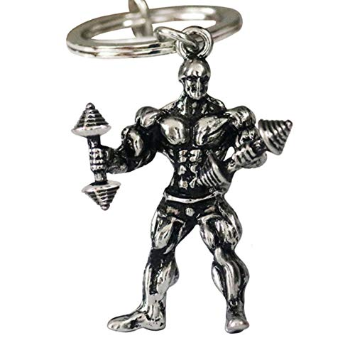 YaptheS Metal Keychain Strong Man Dumbbell Keychain Men Fitness Bodybuilding Key Chains for Car Wallet Keys Ring Clothing ()