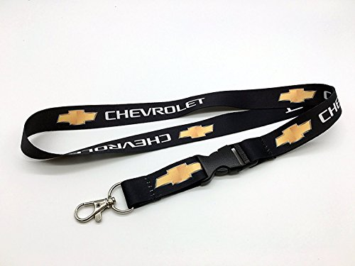 Chevrolet Chevy Logo Keychain Key Chain Black (White Design) Custom Automotive Lanyard with Clip Quick Release Buckle - White Chevy Impala