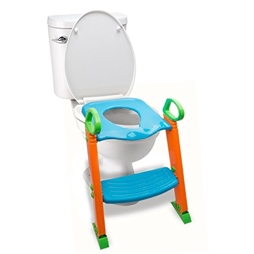 - Potty Toilet Seat with Step Stool ladder, (3 in 1) Trainer for Kids Toddlers W/ Handles. Sturdy, Comfortable, Safe, Built In Non-Slip Steps W/ Anti-Slip Pads. Excellent Potty Seat Step Boys Girls Baby