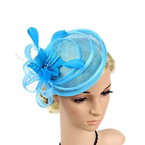 Yiweir Women Fascinator Hat Cocktail Headwear for Bridal Headpiece with Veil Blue Aqua Mesh Gauze Beaded Kentucky Derby by Yiweir