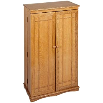 Leslie Dame CD 612 Solid Oak Multimedia Storage Cabinet With Classic  Mission Style Doors,