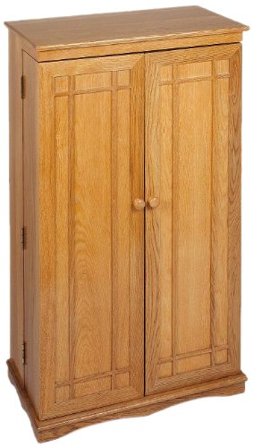 Leslie Dame CD-612 Solid Oak Multimedia Storage Cabinet with Classic Mission Style Doors, Honey Oak