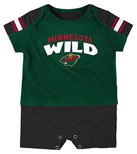 NHL Minnesota Wild Boys Newborn & Infant Little Brawler Jersey Romper, Dragon Green, 18 ()