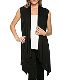 Women's Solid Color Sleeveless Asymetric Hem Open Front Cardigan Vest Jersey Cover Up