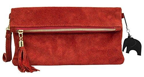 une sac italien z en suède livré Z Liquidación avec avec assorti pochette clutch claro Soldé de 'Ruth' protectrice Rouge soirée décoratif Petit LIATALIA pompon Marrón pqxw66
