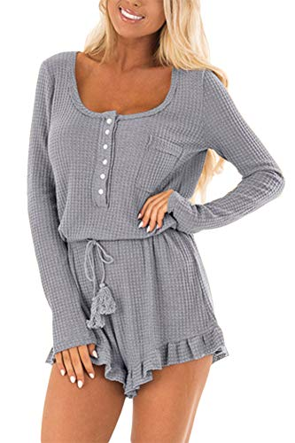 For G and PL Women High Waisted Long Sleeve Ruffle Hem Button Knit Casual Short Jumpsuit Romper Grey L