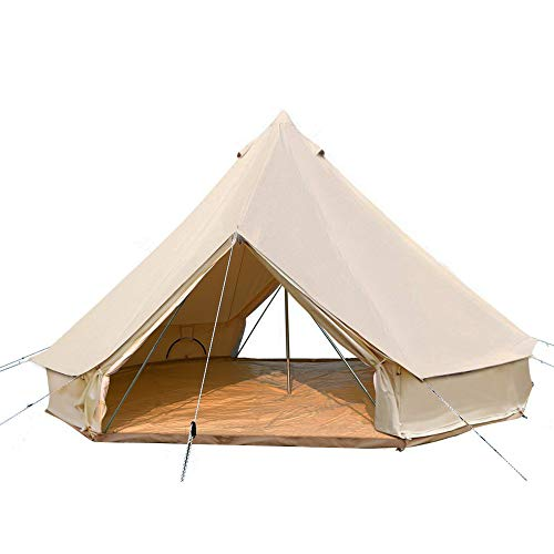 PlayDo 4-Season Camping Cotton Canvas Bell Tent Wall Hunting Tent with 2 Doors and Stove Jack Hole (Without Stove Hole, 5M/16.4ft)