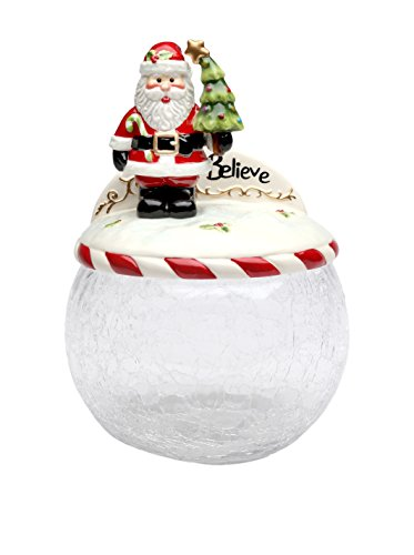 Cosmos Gifts 10637 Santa Tree Glass Cookie Jar with Ceramic Lid, 9-Inch