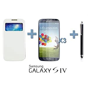 OnlineBestDigital - Flip S View Case Cover for Samsung Galaxy S4 IV I9500 / I9505 - White with 3 Screen Protectors and Stylus