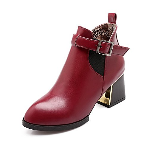 Red Solid AgooLar Soft Boots Toe top Heels Pointed Low Closed Kitten Material Women's vqrTvw7