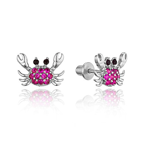 925 Sterling Silver Rhodium Plated Red Crab Cubic Zirconia Screwback Baby Girls Earrings